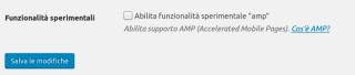 Check box per la fase in test delle pagine AMP