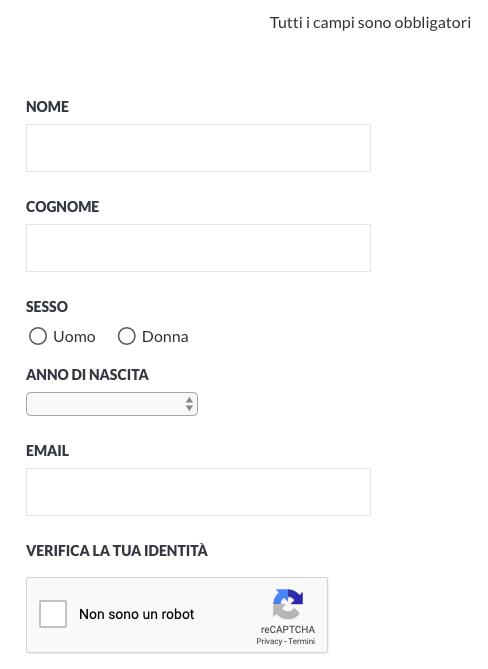 Form di registrazione per la creazione di un blog