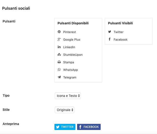 Scegli i pulsanti social con cui i lettori possono condividere il tuo contenuto sui social