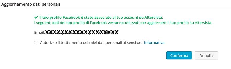 Conferma l'associazione del profilo Facebook all'account Altervista