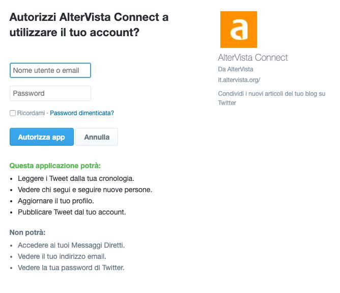 Autorizza Twitter a usare il tuo account Altervista