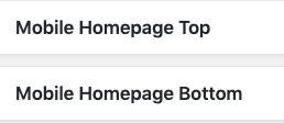Posizione Mobile Homepage Top e Homepage Bottom