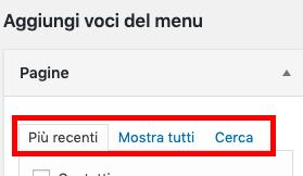 """Aggiungi voci al menu, ordinandole per elementi più recenti o cercandole nella tab """"cerca"""""""