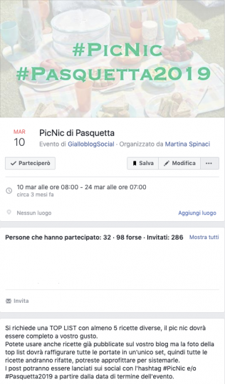 "Invito all'evento Facebook di Giallo Zafferano ""Picnic di Pasquetta"""
