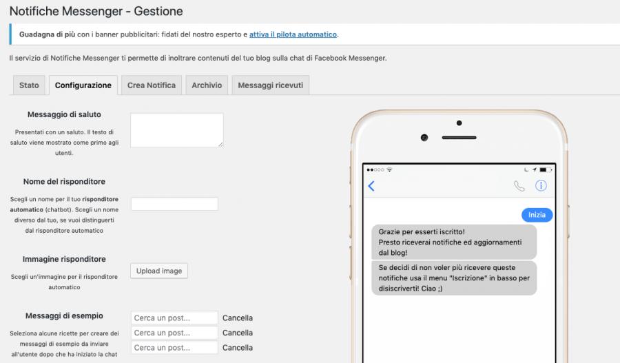 configurazione messaggi notifiche messenger