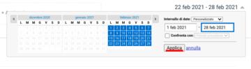 Scegli un range di date