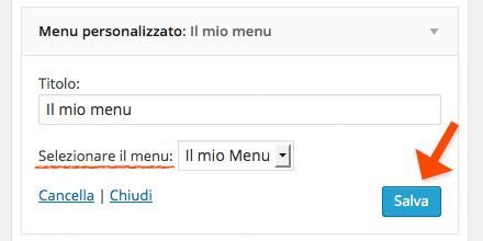 Il widget menu personalizzato for Crea il mio piano personale
